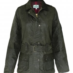Hoggs of Fife Cheltenham Ladies Belted Wax Jacket CHEL/OL/18